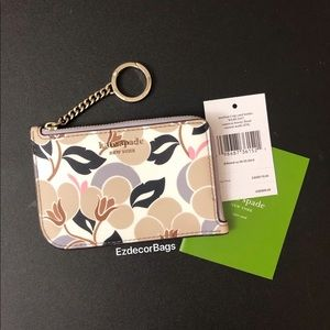 NWT Kate Spade Cameron Floral L-Zip Card Holder